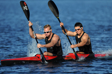 Steven Ferguson and Darryl Fitzgerald will be competing for New Zealand in the K2 1000m final tonight (Photosport)