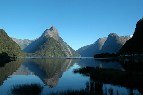 The crane has tipped over in Freshwater Basin near the Milford Sound