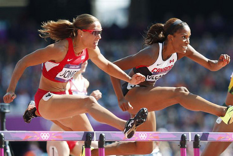 Lolo Jones (L) of the U.S. and Canada's Phylicia George competing at the London Olympics (Reuters/Mark Blinch)