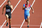 Brent Newdick (left) competing in the 100m (Reuters)