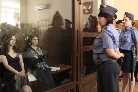 Pussy Riot members Yekaterina Samutsevich and Maria Alyokhina in court (Reuters)