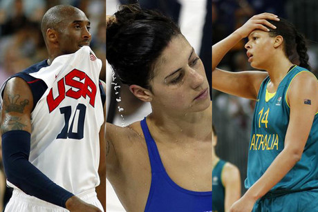 US basketball star Kobe Bryant, Australian swimmer Stephanie Rice, and Australian basketballer Liz Cambage (Reuters)