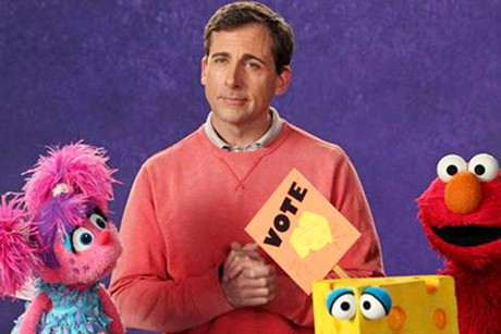 Steve Carell on the set of Sesame Street