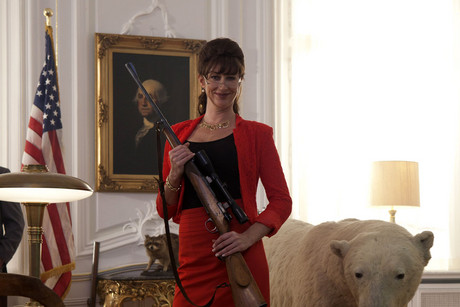 Stephanie Paul as the American President in Iron Sky