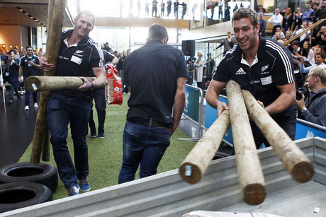 Kieran Read (left) and Luke Romano take part in bonding challenges (Photosport)