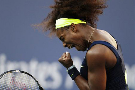 Serena Williams reacts during the women's singles final at the US Open (Reuters)