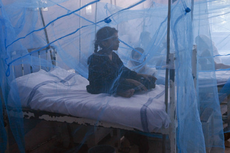 A girl suffering from dengue fever sits under a mosquito net while seeking treatment at a hospital in Lahore (Reuters/Mohsin Raza)