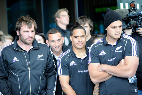 L-R, Andrew Hore, Aaron Smith and Israel Dagg, during an All Blacks Challenge day at Forsyth Barr Stadium in Dunedin (Photosport)