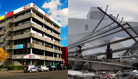 Christchurch's collapsed CTV building before and after