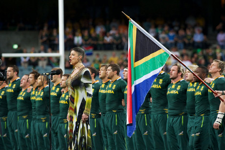 The Springboks sing the anthem before the The Rugby Championship match Australia v South Africa at Patersons Stadium (Photosport)