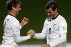 Ben Sigmund, left, and All Whites' captain Ryan Nelsen (Photosport)