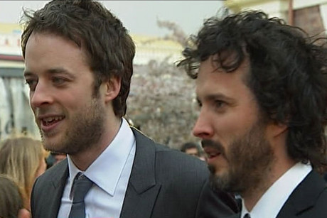 Hamish Blake and Bret McKenzie at the Invercargill premier of Two Little Boys