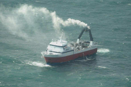 The Amaltal Columbia in trouble off the cost of Lyttelton (Photo: Defence Force)