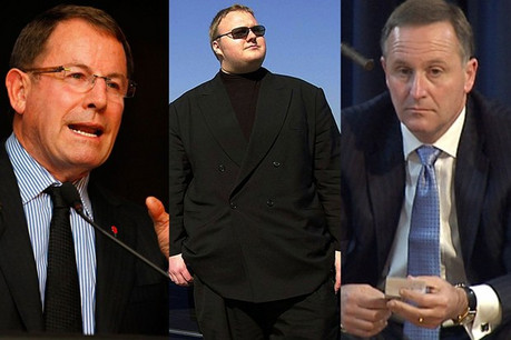 ACT leader John Banks, Kim Dotcom and Prime Minister John Key