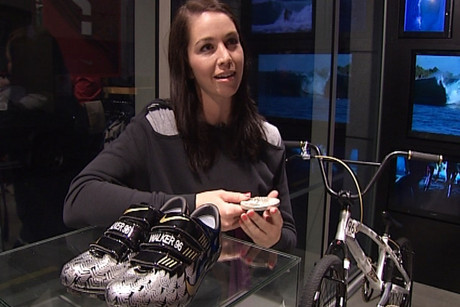 Sarah Walker with the shoes that won the competition