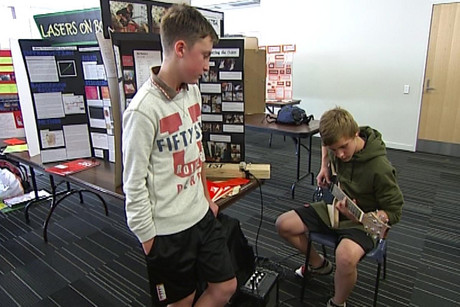 The two students used a piece of kitchen bench to build the guitar