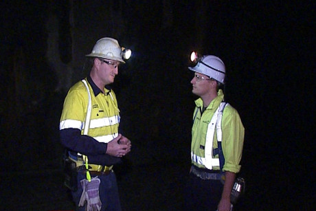 3 News reporter Tom McRae (right) inside the mine with underground manager Charlie Gawith