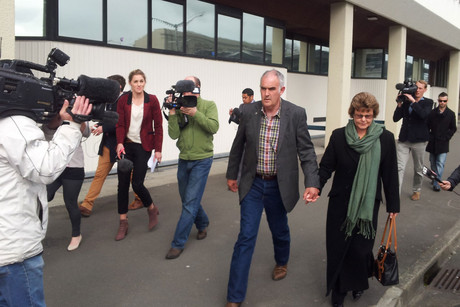 Ewen Macdonald's parents leaving court (Photo: Lloyd Burr / 3 News)