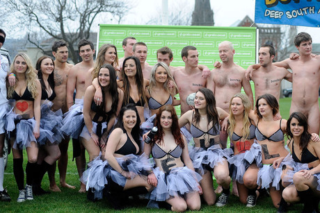 Players come together for a team photo, during an Nude Rugby match at Alhambra Union Rugby Football Club in Dunedin (Photosport)