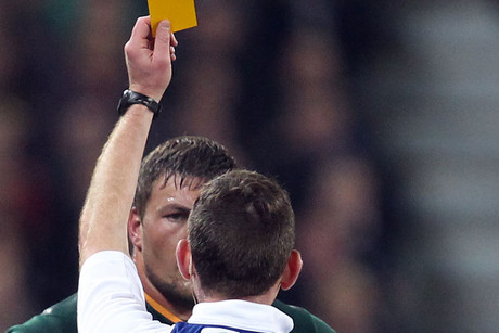 Springboks prop Dean Greyling gets a yellow card for the cheap shot (Photosport)