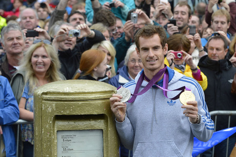 US Open tennis champion and Olympic Gold Medalist Andy Murray returns to his home town of Dunblane (Reuters)