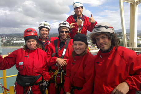 Lucy Lawless with other protesters aboard the Noble Discoverer in February