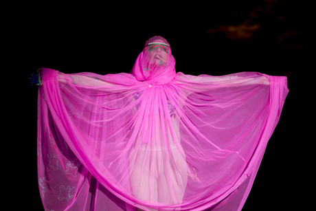 Lady Gaga on the catwalk of Philip Treacy's fashion show (AAP)