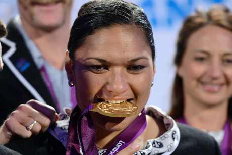 Valerie Adams receives her gold medal for the Women's Shot Put at the 2012 London Olympic Games at a special function at The Cloud in Auckland (Photosport)
