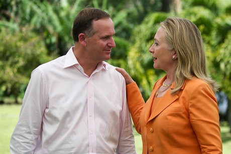 Hillary Clinton speaking with John Key at the Pacific Islands Forum  (Reuters)