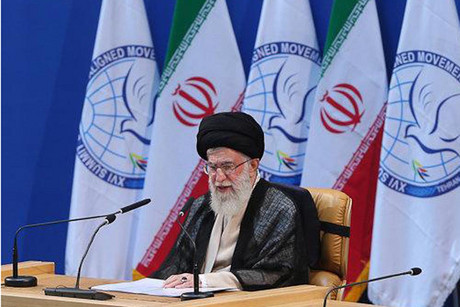 Iran's supreme leader Ayatollah Ali Khamenei speaks at the Non-Aligned Summit in Tehran  (Reuters)q