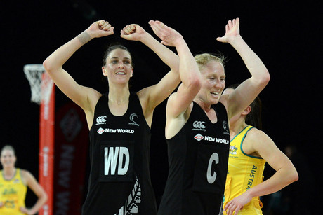 Laura Langman and Anna Harrison celebrate the Silver Ferns' win (Photosport)