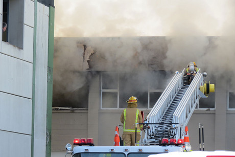 Firemen battle the blaze (Photo: Chris Whitworth / 3 News)