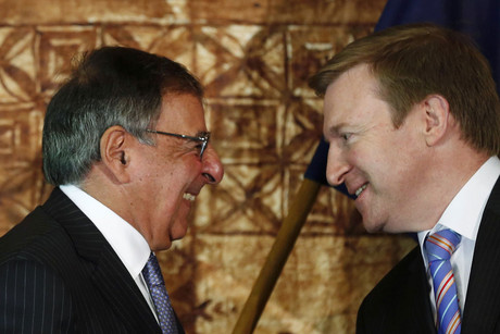 US Defence Secretary Leon Panetta (left) speaks with NZ Defence Minister Jonathan Coleman (Reuters)