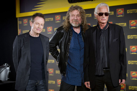 (L-R) John paul Jones, Robert Plant and Jimmy Page of Led Zeppelin pictured at a press conference for their film Celebration Day, at 8 Northumberland Avenue in London (Photo: AAP)