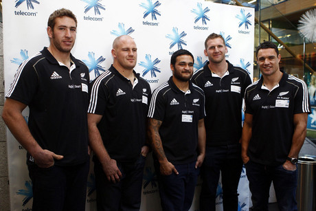 (L to R) Luke Romano, Ben Franks, Piri Weepu, Kieran Read and Dan Carter (Photosport file)