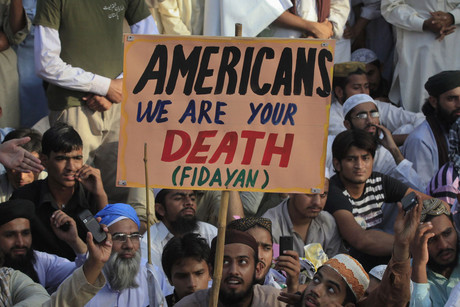 A rally against the anti-Islam film mocking Prophet Mohammad, in Lahore (Reuters)