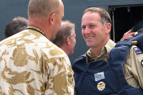 John Key meets troops in Afghanistan (file)