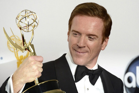 Homeland's Damian Lewis with his Emmy Award (AAP)