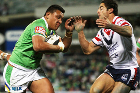 Blockbusting Canberra back-rower Josh Papalii, left (file pic)