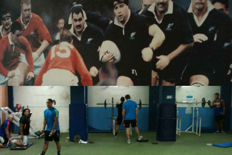 Old school training styles of the current All Blacks, bottom, suited what hung in the gym in Argentina, above