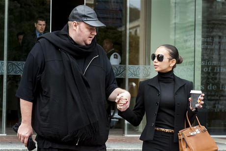 Megaupload founder Dotcom and his wife Mona Schmitz leave the New Zealand Court of Appeals in Wellington (Reuters)