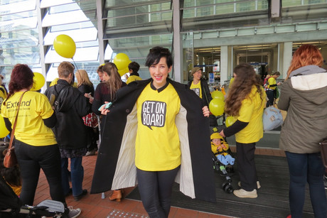 Mum Jacquie Brown led the flash mob supporting paid parental leave (Photo: Imogen Crispe/3 News)