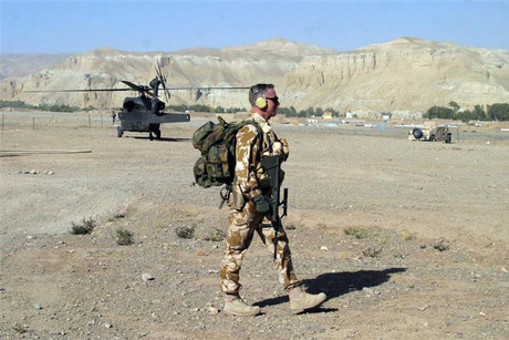 A soldier form New Zealand patrols an airstrip in the central province of Bamyan (Reuters)