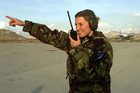 New Zealander airmovements shift leader Jade Streeter stands on runway at Kabul airport (Reuters file)