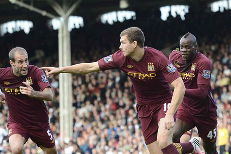 Edin Dzeko celebrates his last minute winner (Reuters)