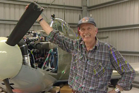 Rick Harding had emergency services waiting as he landed his replica Spitfire on its belly