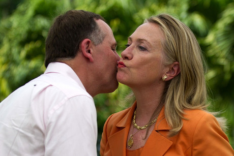 John Key with Hillary Clinton (Reuters)