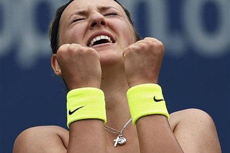 Victoria Azarenka of Belarus celebrates after defeating Samantha Stosur (Reuters)