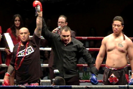 Tafa 'The Thumpa' Misipati after defeating Paulo 'The Barbarian' Lakai