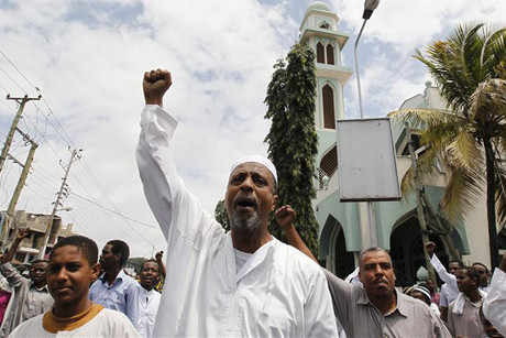 Muslims protest after a preacher was shot in Mombasa in August (Reuters file)